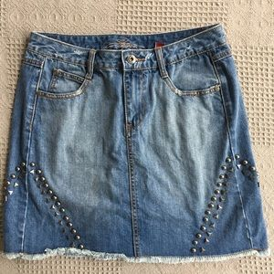 Stetson Skirts - Stetson Western Jean Distressed Stud Accent Skirt